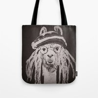 funky Tote Bags featuring Funky Llama by Paula Belle Flores
