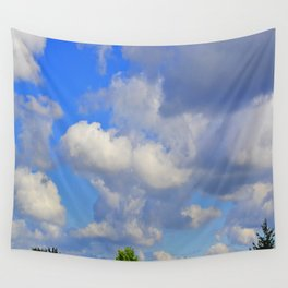 White Puffs in the Sky Wall Tapestry