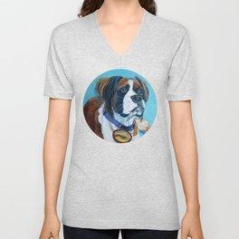 Nori the Therapy Boxer Dog Portrait Unisex V-Neck