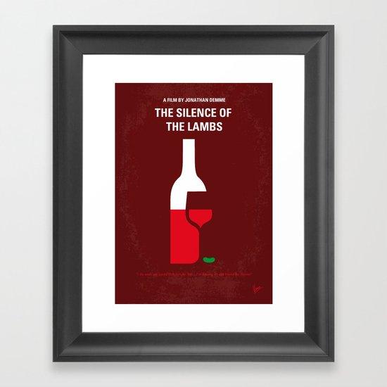 No078 My Silence of the lamb minimal movie poster Framed Art Print