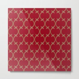 Gold Moroccan Lattice on Red Metal Print