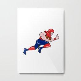 American Football Running Back Charging Cartoon Metal Print
