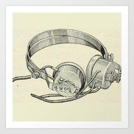 Old school headphones. Art Print