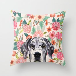 Great Dane florals pet portrait art print and dog gifts Throw Pillow