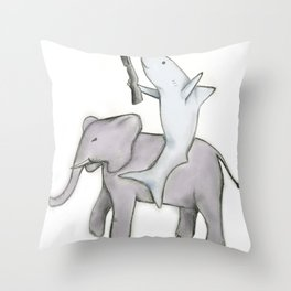 Shark with a Shotgun and the Elephant Throw Pillow
