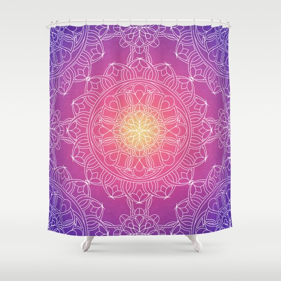 White Lace Mandala In Purple Pink And Yellow Shower Curtain By Kelly Dietri