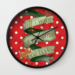 Christmas books Wall Clock