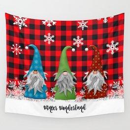 Christmas Gnome Lumberjack Plaid Wall Tapestry