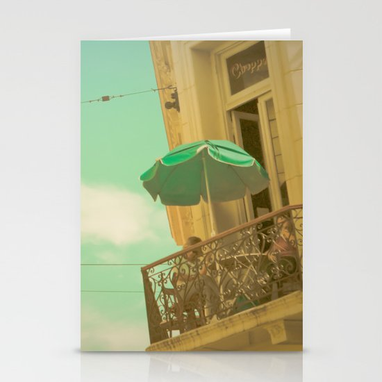 Vintage Turquoise Summer Umbrella (Retro and Vintage Urban Photography)  Stationery Cards