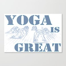 Yoga Is Great : Blues Canvas Print