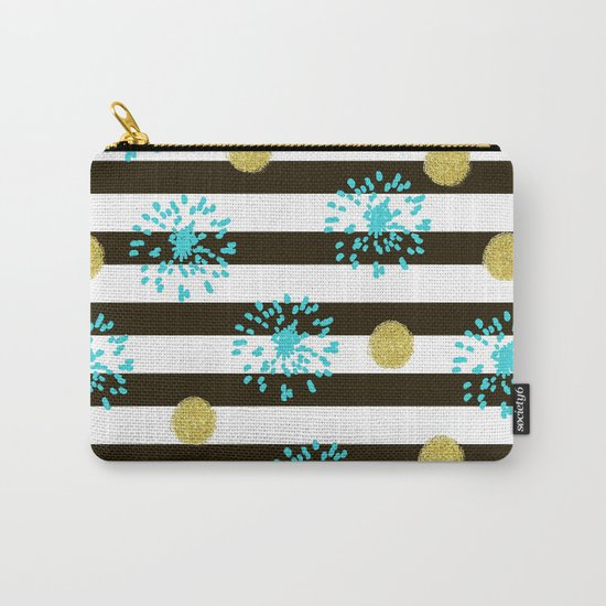 A festive mood. Striped background black and white with blue fireworks and Golden peas . Carry-All Pouch