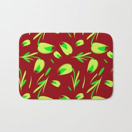 Yellow flowers and tulips on a claret background. Bath Mat