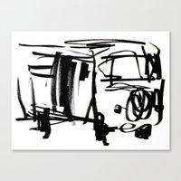 vw bus Canvas Prints featuring vw bus by character undefined