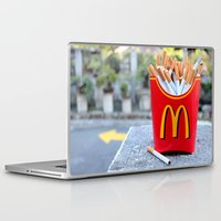 french fries Laptop & iPad Skins featuring Smoked Fries by Stephanie Nakagawa