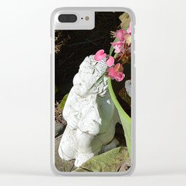 Sun kissed Garden Angel and Begonias Clear iPhone Case