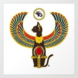 Winged Bast w/Ankh Art Print