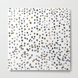 Dots Gold Black and White Metal Print