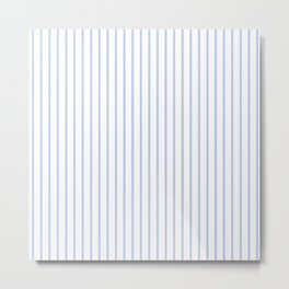 Alice Blue Pinstripe on White Metal Print