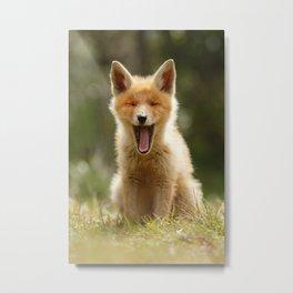 The Yawning Fox Kit Metal Print