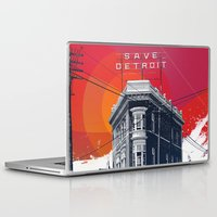 detroit Laptop & iPad Skins featuring Save Detroit by The Mighty Mitten - Great Lakes Art