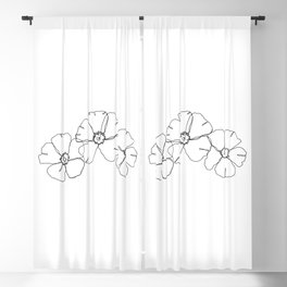 Floral one line drawing - Rita Blackout Curtain