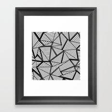 Ab Lines 2 Black and White Framed Art Print