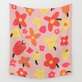 Pink Flowergram Wall Tapestry