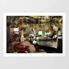 Man and his boat - Villefranche Art Print