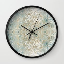 Mandala Flower, Teal and Gold, Floral Prints Wall Clock