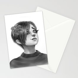 Imagination of a Black and White Anime Girl Stationery Cards