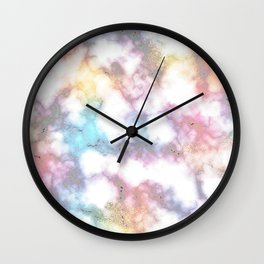 Blurred Rainbow Clouds: Faux Marble Pattern Wall Clock