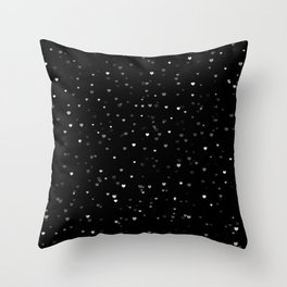 Little black and white hearts Throw Pillow