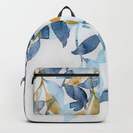 Blue and Gold watercolor leaves painting Backpack
