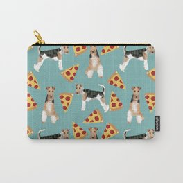 Wire Fox Terrier dog pattern pizza dog lover gifts for dog person dog breeds pet friendly Carry-All Pouch