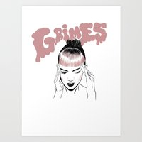 grimes Art Prints featuring GRIMES by Jacinta Stokes