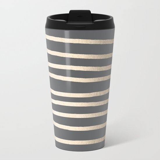Simply Drawn Stripes White Gold Sands on Storm Gray Metal Travel Mug