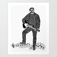 rock n roll Art Prints featuring Rock 'N' Roll by The Curly Whirl Girly.