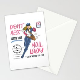 Mail Lady Design For Postal Worker and Mailwoman Stationery Cards