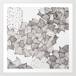 Black and white echeveria succulent Art Print