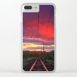 Northern sunset and a railway Clear iPhone Case