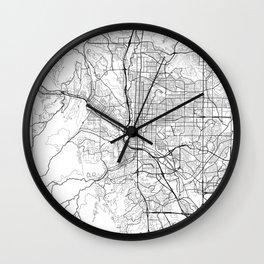 Colorado Springs Map White Wall Clock