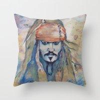 jack sparrow Throw Pillows featuring Jack Sparrow by Nicola Girello