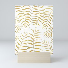 Gold palm leaves Mini Art Print