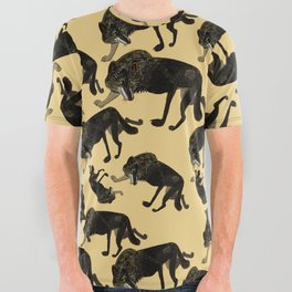 Totem black Buffalo wolf (nubilus) Yellow All Over Graphic Tee