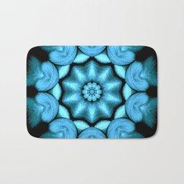 Blue Green Heart Mandala Kaleidoscope Pattern Bath Mat