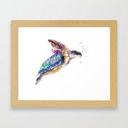 Hawaiian Sea Turtle, swimming turtle bathroom design Framed Art Print