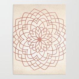 Mandala Floral Geometry Rose Gold on Cream Poster