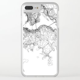 Hong Kong White Map Clear iPhone Case