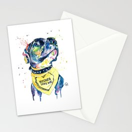 Pitbull, Pit Bull Watercolor Pet Portrait Pinting - Diesel Stationery Cards
