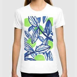 Blue and lime green abstract apple tree T-shirt